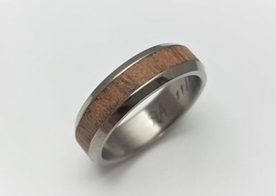 Picture of wood inlaid groom's ring